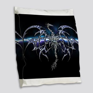 Blue Dragon on Lightning Sky Burlap Throw Pillow