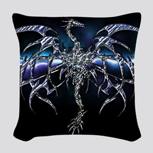 Blue Dragon on Lightning Sky Woven Throw Pillow