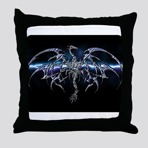 Blue Dragon on Lightning Sky Throw Pillow