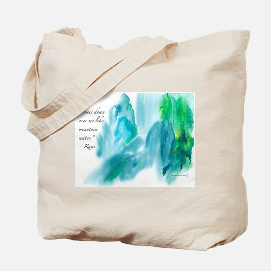 Rumi Tranquil Mountains Tote Bag
