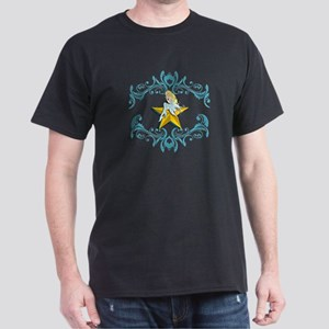 Blue Fairy on Yellow Star Dark T-Shirt