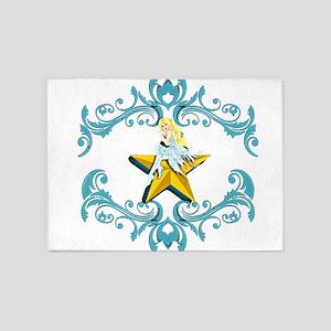 Blue Fairy on Yellow Star 5'x7'Area Rug