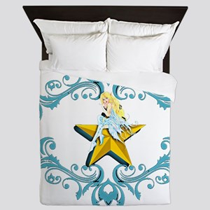 Blue Fairy on Yellow Star Queen Duvet