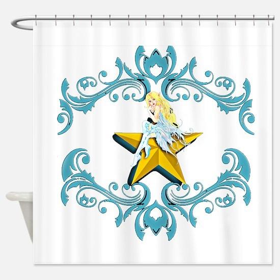 Blue Fairy on Yellow Star Shower Curtain