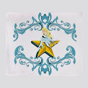 Blue Fairy on Yellow Star Throw Blanket