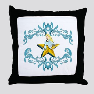 Blue Fairy on Yellow Star Throw Pillow