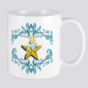 Blue Fairy on Yellow Star Mugs