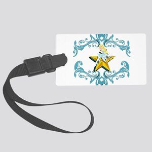 Blue Fairy on Yellow Star Large Luggage Tag