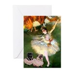 Dancer / 2 Pugs Greeting Cards (Pk of 20)