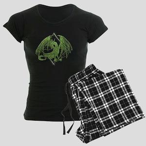 Green Dragon on Diamond Women's Dark Pajamas