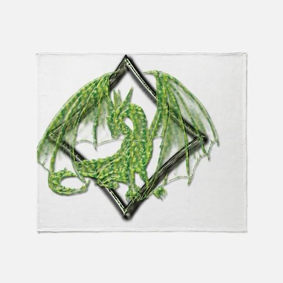 Green Dragon on Diamond Throw Blanket