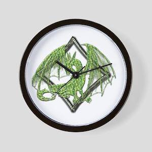 Green Dragon on Diamond Wall Clock