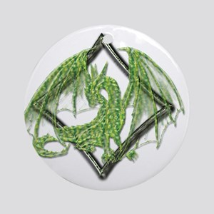 Green Dragon on Diamond Round Ornament