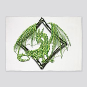Green Dragon on Diamond 5'x7'Area Rug