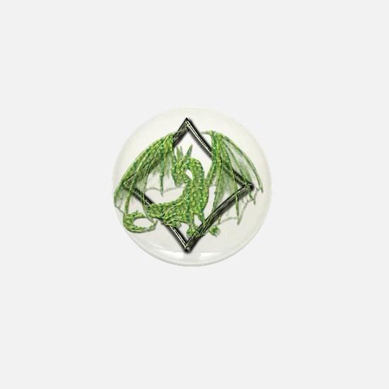 Green Dragon on Diamond Mini Button