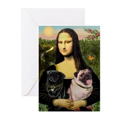 Mona's 2 Pugs Greeting Cards (Pk of 20)