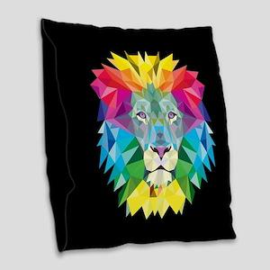 Rainbow Lion Burlap Throw Pillow