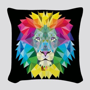 Rainbow Lion Woven Throw Pillow