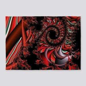 Red Dragon Fractal 5'x7'Area Rug