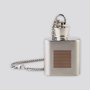 Peach and Gray Chevron Flask Necklace