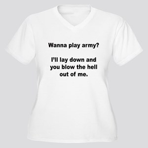 Wanna play army? Women's Plus Size V-Neck T-Shirt