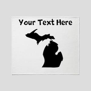 Custom Michigan Silhouette Throw Blanket