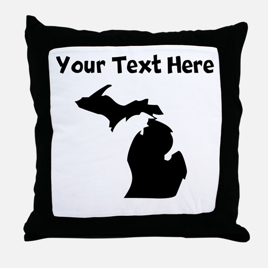 Custom Michigan Silhouette Throw Pillow