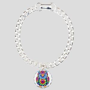 Tie Dye Owl Charm Bracelet, One Charm