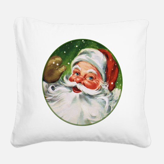 Vintage Santa Face 1 Square Canvas Pillow