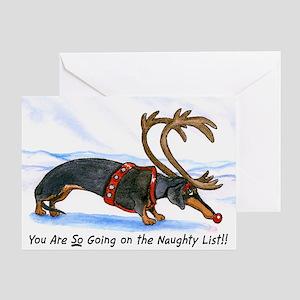 Naughty Dachshund Christmas Card