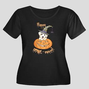 Halloween Bichon Women's Plus Size Scoop Neck Dark