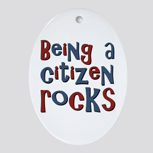 Being a USA Citizen Rocks Oval Ornament