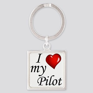 I Love My Pilot Square Keychain