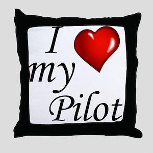 I Love My Pilot Throw Pillow