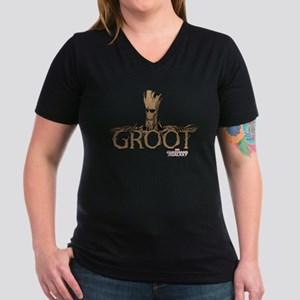 GOTG Comic Groot Women's V-Neck Dark T-Shirt