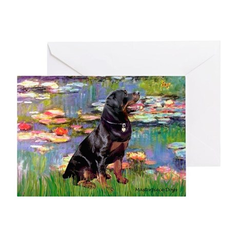 Lilies2/Rottweiler Greeting Card