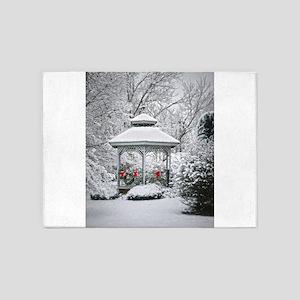 Gazebo in the Snow 5'x7'Area Rug