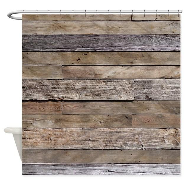 Rustic Weathered Barn Wood Shower Curtain by rebeccakorpita