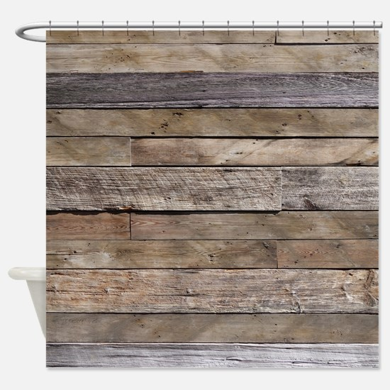 Rustic Weathered Barn Wood Shower Curtain