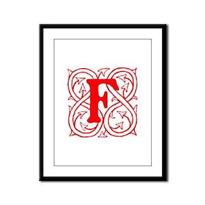 Initial F Framed Panel Print