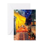 Cafe & Rottweiler Greeting Card