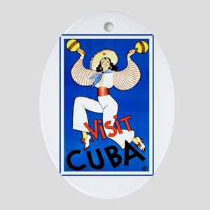 Vintage Travel Poster, Cuba Oval Ornament
