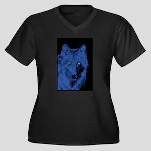 Wolf Face-Blue Women's Plus Size V-Neck Dark T-Shi