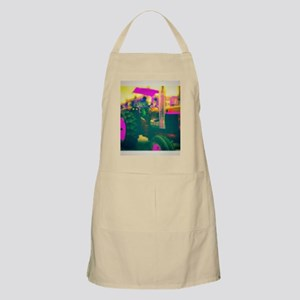 Tractor in a Parade, neon colors digital art Apron