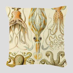 Vintage Octopus, Octopi Woven Throw Pillow
