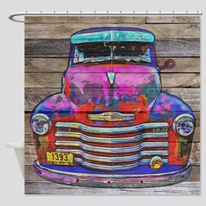 Vintage 1950 Chevy Truck Wood Shower Curtain
