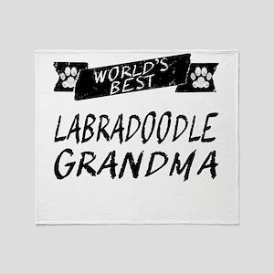 Worlds Best Labradoodle Grandma Throw Blanket