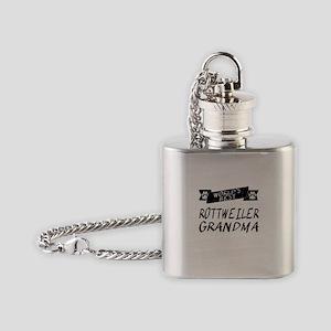 Worlds Best Rottweiler Grandma Flask Necklace