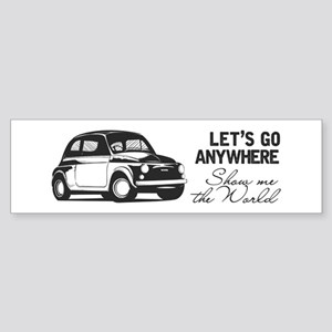 Vintage Fiat 500 World Travel Des Bumper Sticker