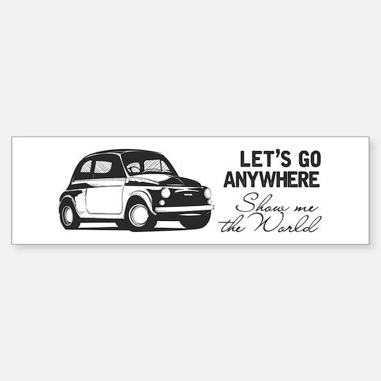 Vintage Fiat 500 World Travel Des Bumper Bumper Bumper Sticker